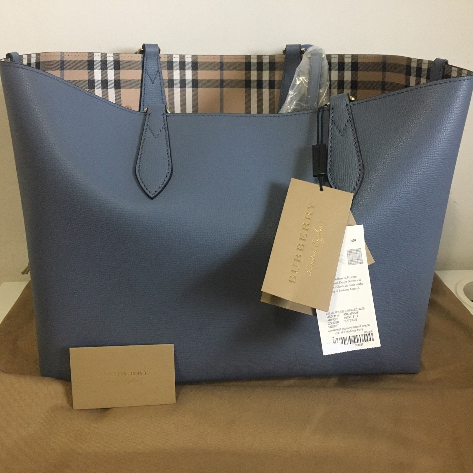 04aab6e3d4ff Details about Burberry Medium Reversible Tote in Haymarket Check and ...