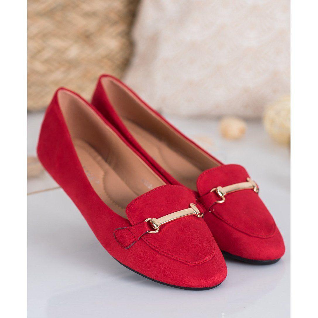 Shelovet Zamszowe Baleriny Czerwone Loafers Shoes Fashion