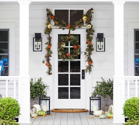 Lit Natural Pumpkin Wreath Amp Garland Fall Front Porch Decor Front Porch Decorating Front Door Decor
