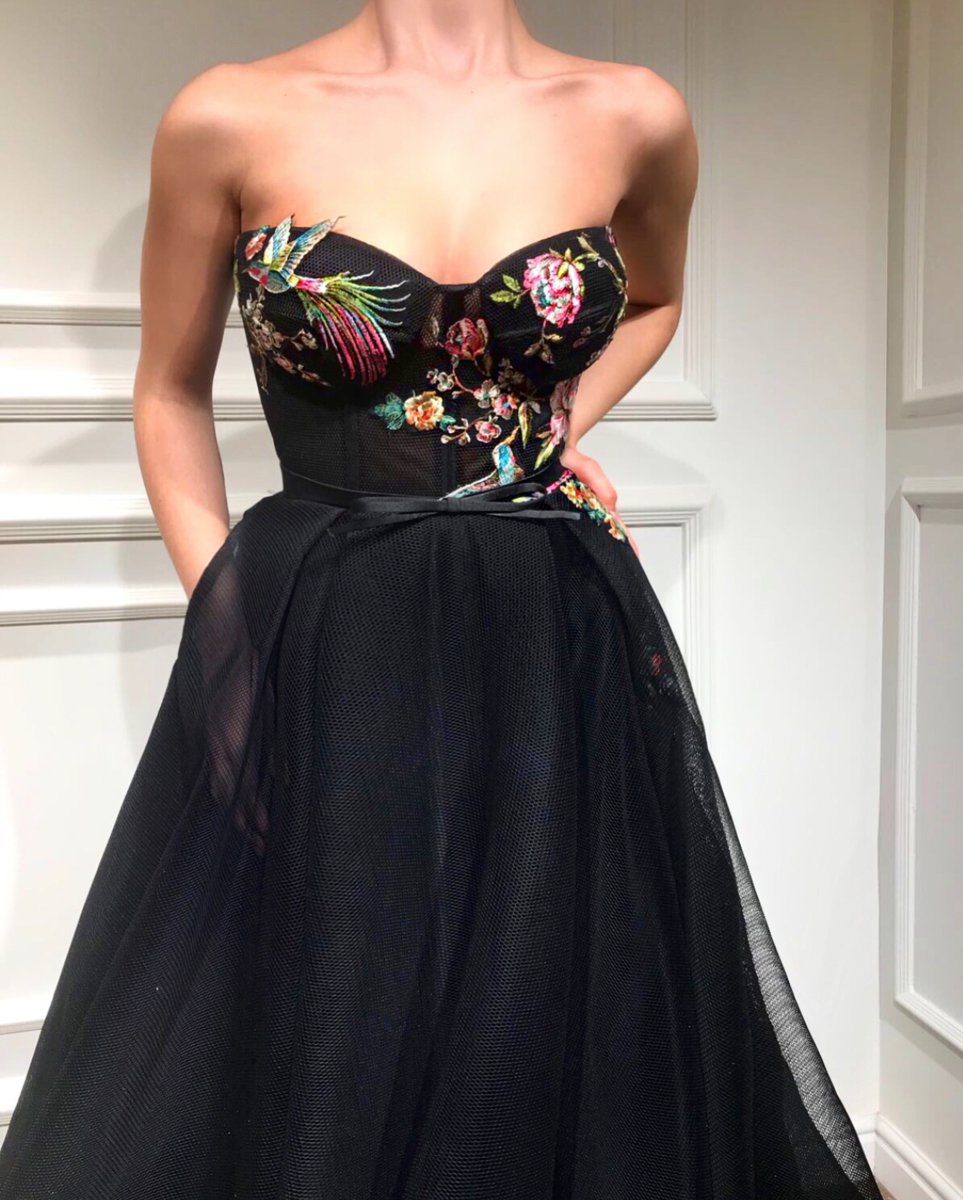 f7dc7f6c91bc Details - Black color - 3D tulle fabric - Handmade embroidered with flowers  - Ball-gown style - Party and Evening nights