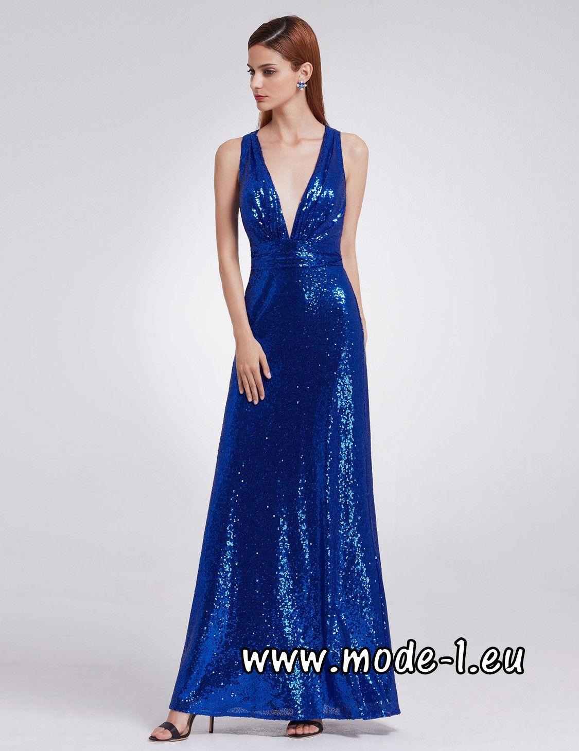 Pailletten Abendkleid 2018 in Blau mit V Ausschnitt | Abendkleider ...
