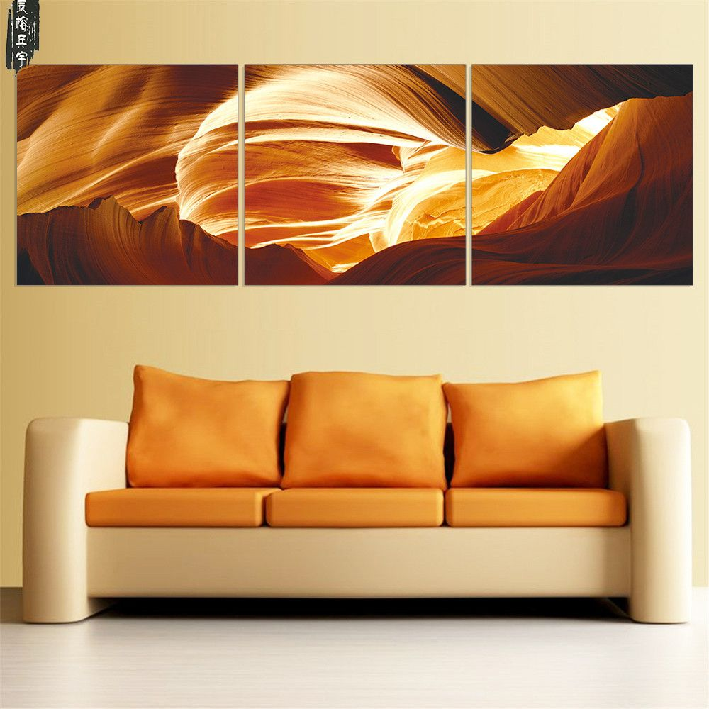 Modern Abstract Canvas Painting Modular Canvas Art Yellow Oil ...