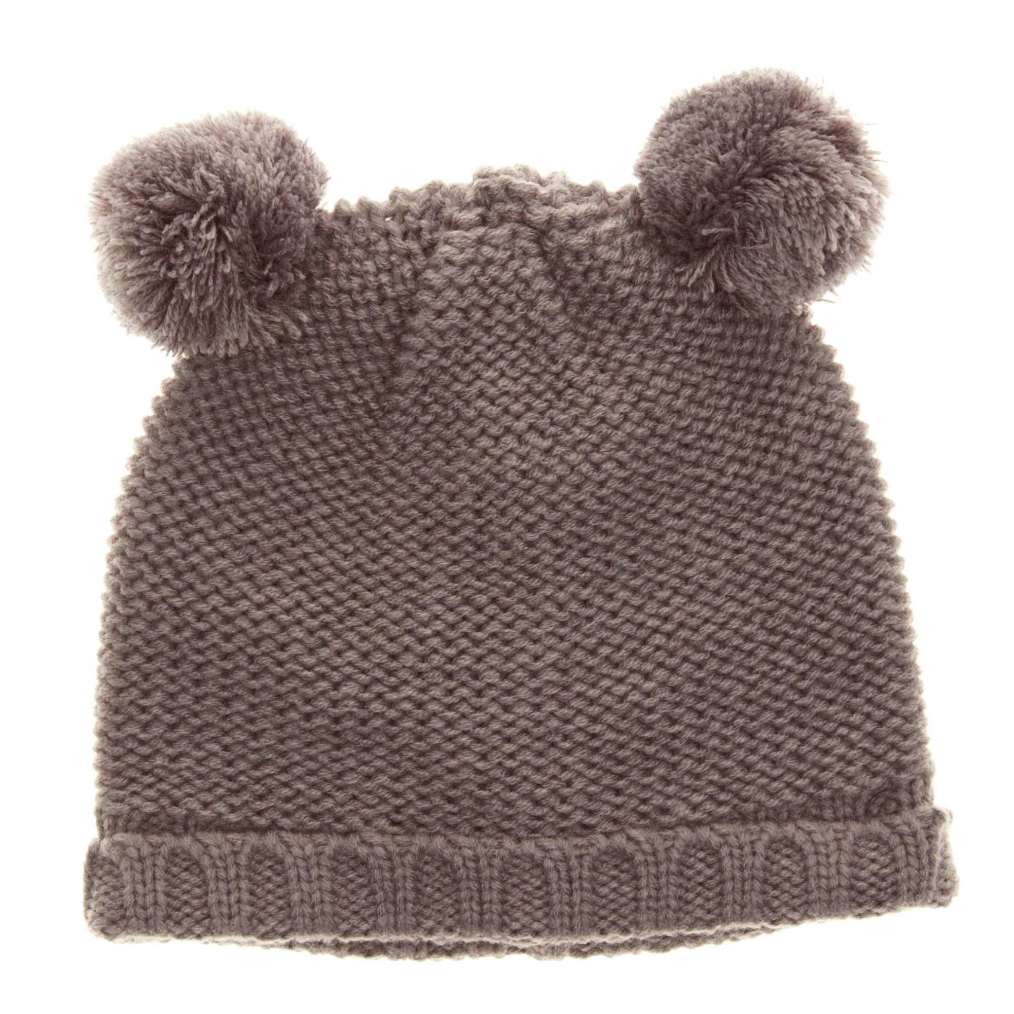 Fleece-lined knit hat with 2 pompoms Girls age 18 months to 5 ...