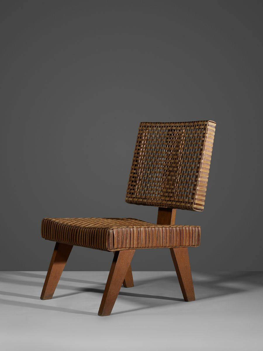 Pierre Jeanneret and Le Corbusier; Teak and Cane Easy Chair from Chandigarh, c1960.