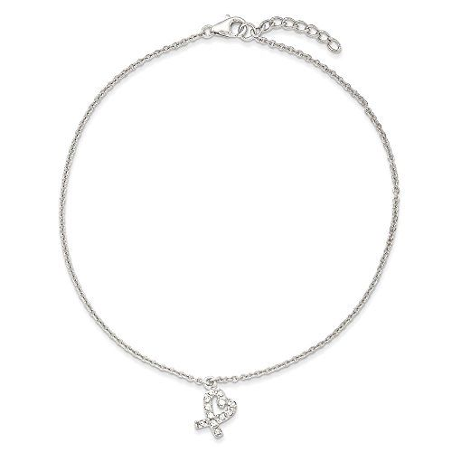 Sterling Silver 10  1inch Ext Hanging CZ Heart Anklet *** Click on the image for additional details.