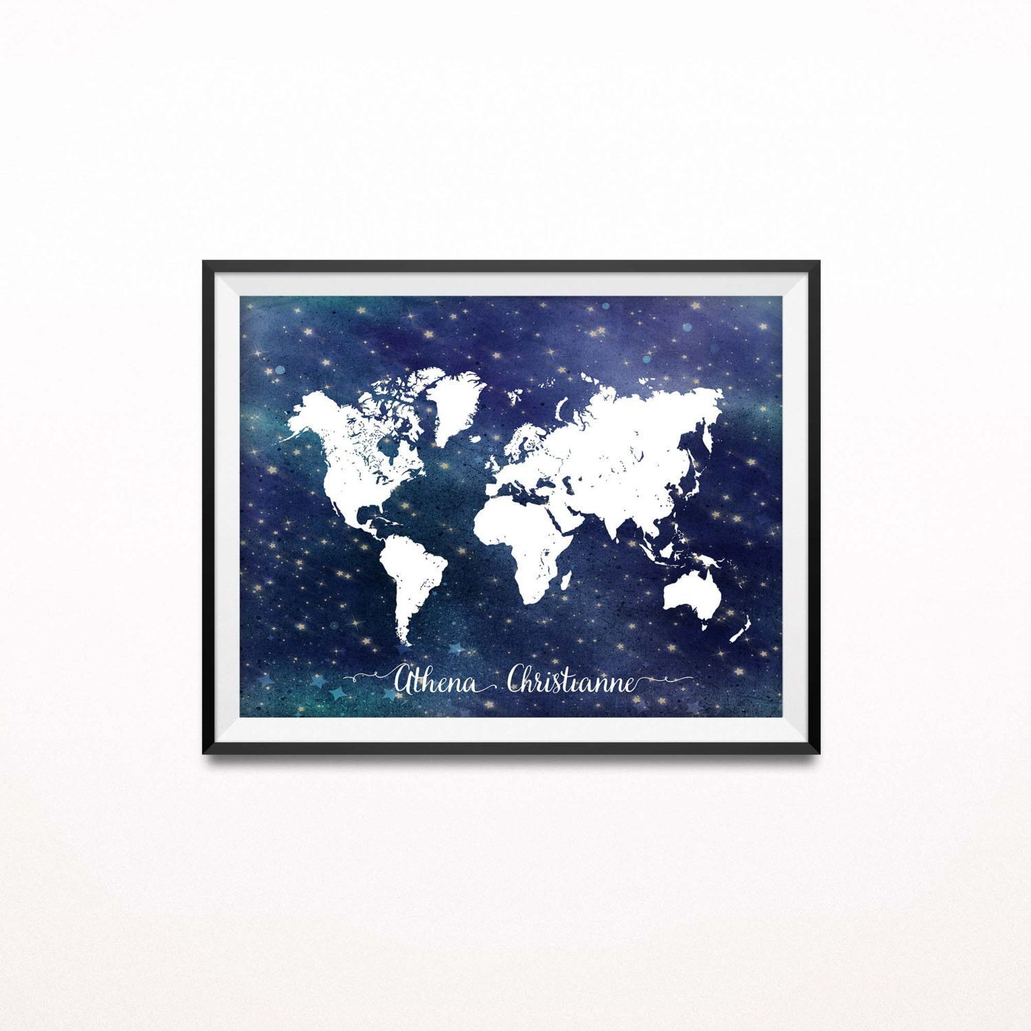 Personalized nursery print travel art print nautical stars a map of the world in white featured on a starry night background perfect for your travel themed nursery playroom dorm room or to give as a gift to an gumiabroncs Gallery