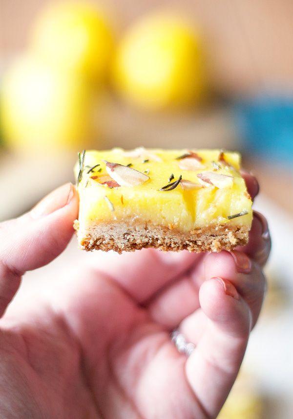 Rosemary Lemon Bars with Almond Shortbread Crust | ahappyfooddance.com