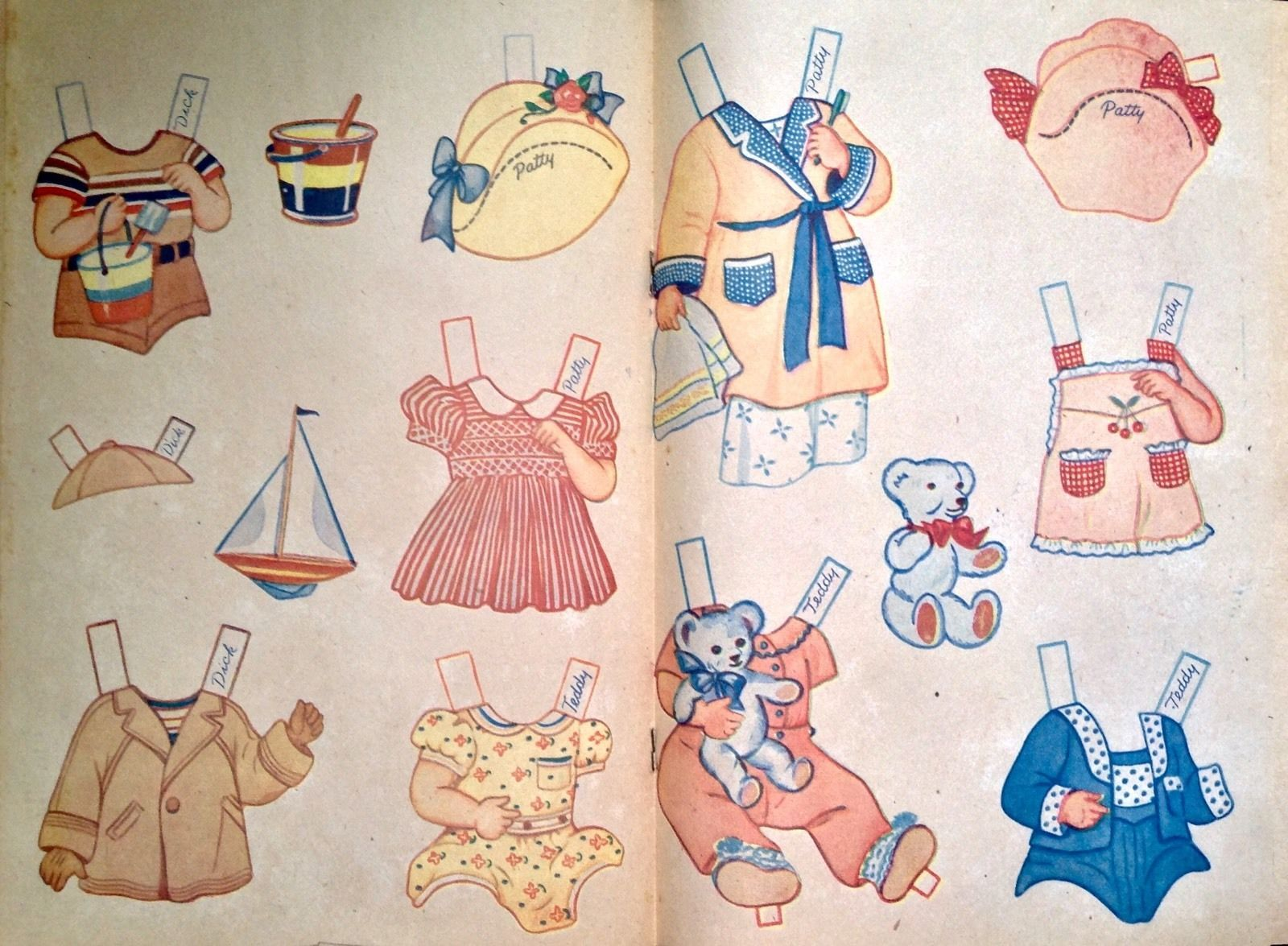 Old Original Four Playmates Dresses Toys Paper Doll Book 1944 Uncut | eBay