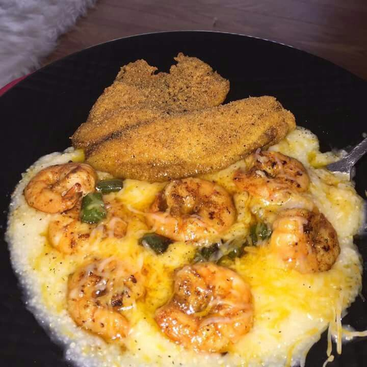 Southern style shrimp and grits with fried fish recipes for Fish and grits