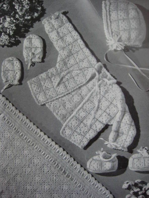 Vintage Baby Crochet Patterns Infant Sweater Bonnet Booties Mittens Blanket 170a. $4.00, via Etsy.