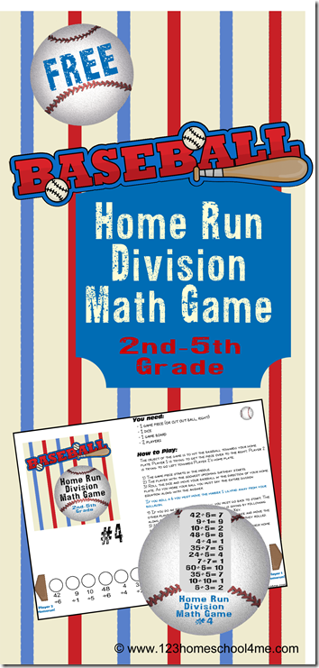 FREE Baseball Division Math Game | Division math games, Printable ...