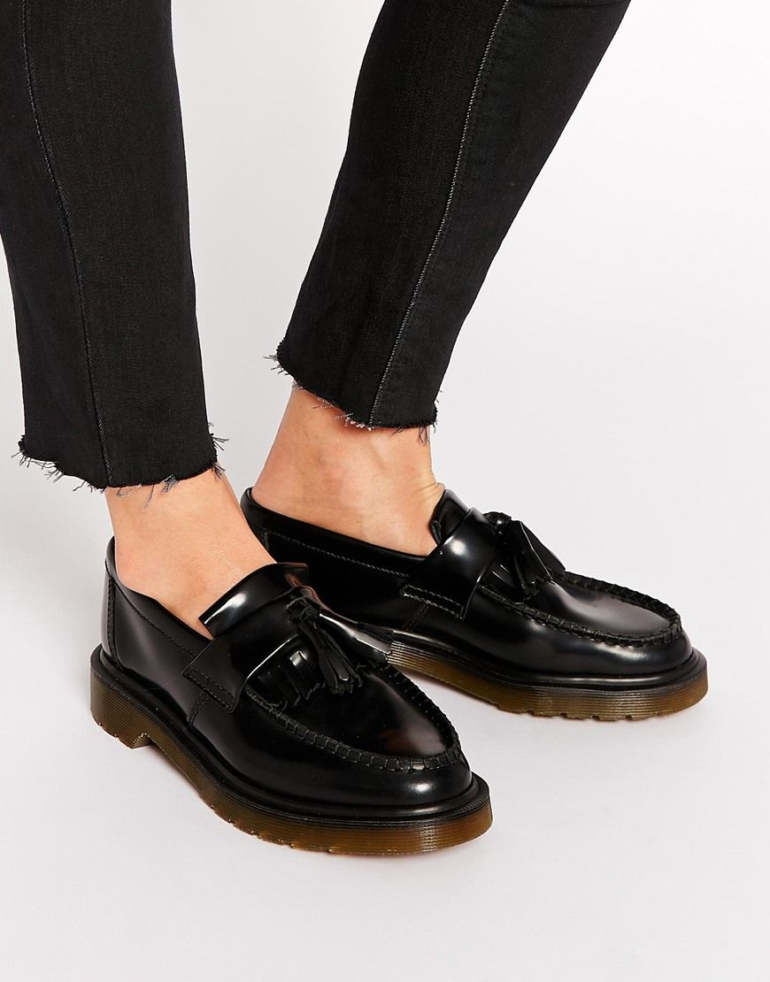 Dr Martens Adrian Black Leather Tassel Loafer Flat Shoes