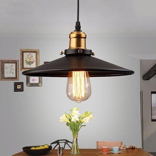 Retro Vintage Suspension Metal Lustre Industriel Plafonnier Lampe