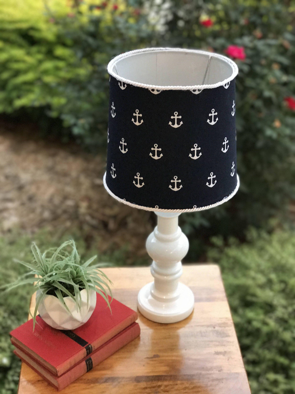 """20"""" tall lamp,nautical lamp,navy blue lamp,white and dark ..."""