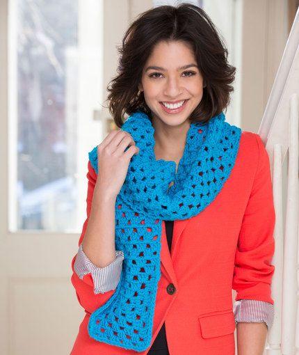 Beginner Granny Square Scarf Crochet Pattern | Red Heart | Crochet ...