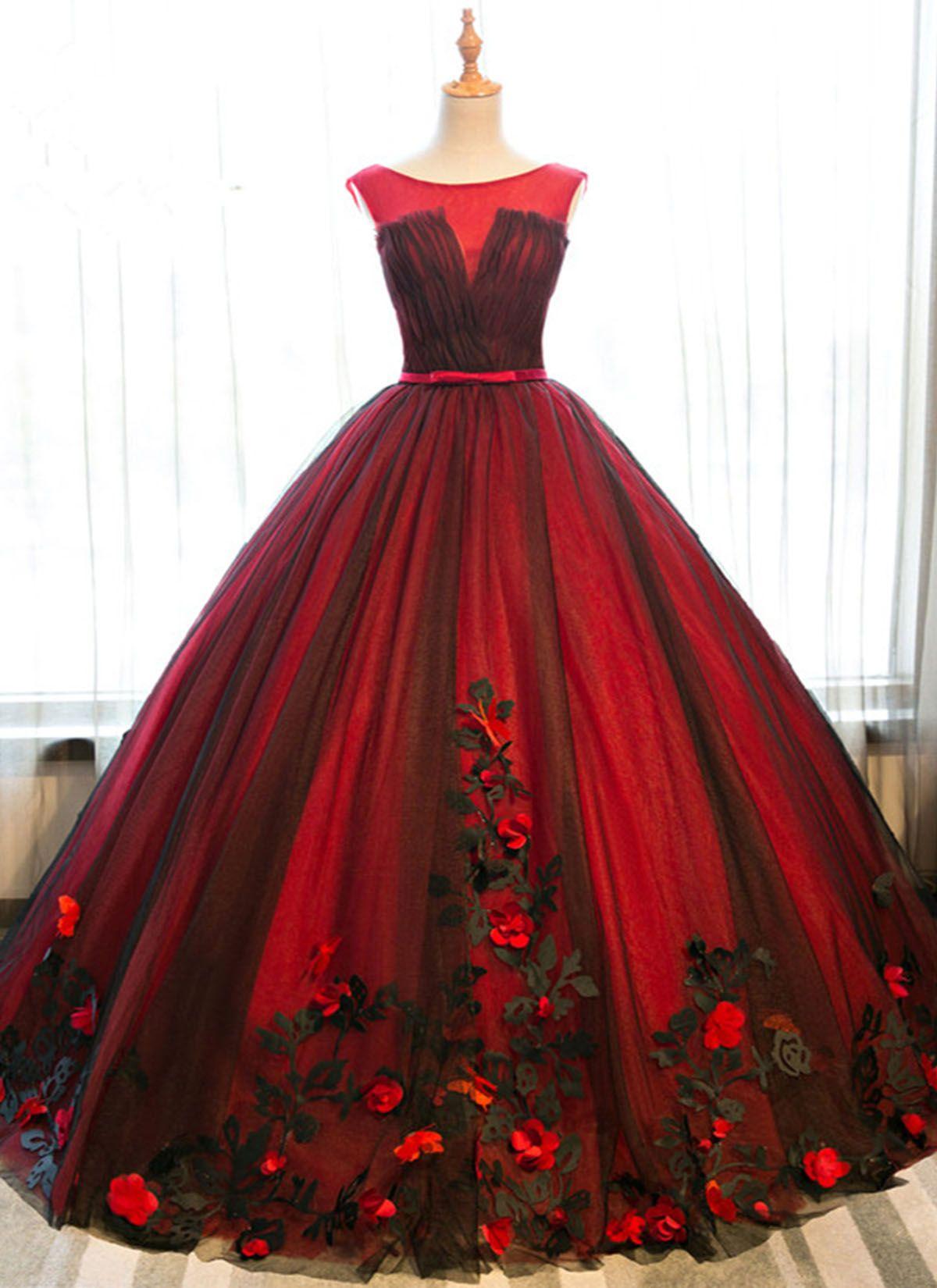 4daf3dc429e0 Red satin scoop neck long halter senior prom dress with black tulle ...