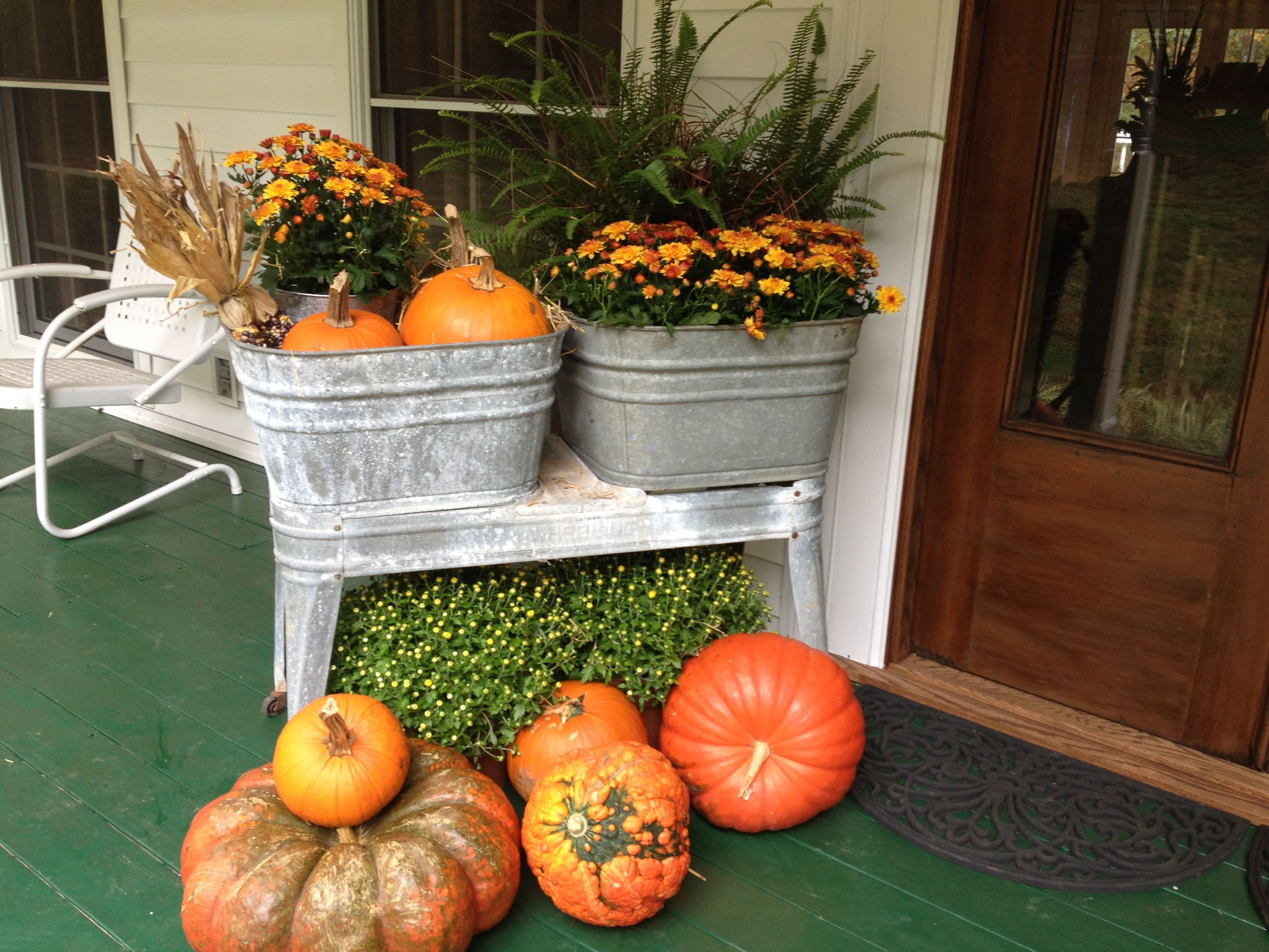 Old Wash Tubs And Stand Fall Outdoor Decor Wash Tubs Fall Decorations Porch