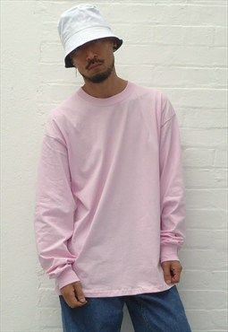 9114e020 New 90s Style Ultra Baggy Long Sleeve T-Shirt in Pink | apparel ...