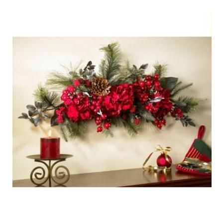 """Nearly Natural 30"""" Holiday Hydrangea Swag 30 in."""