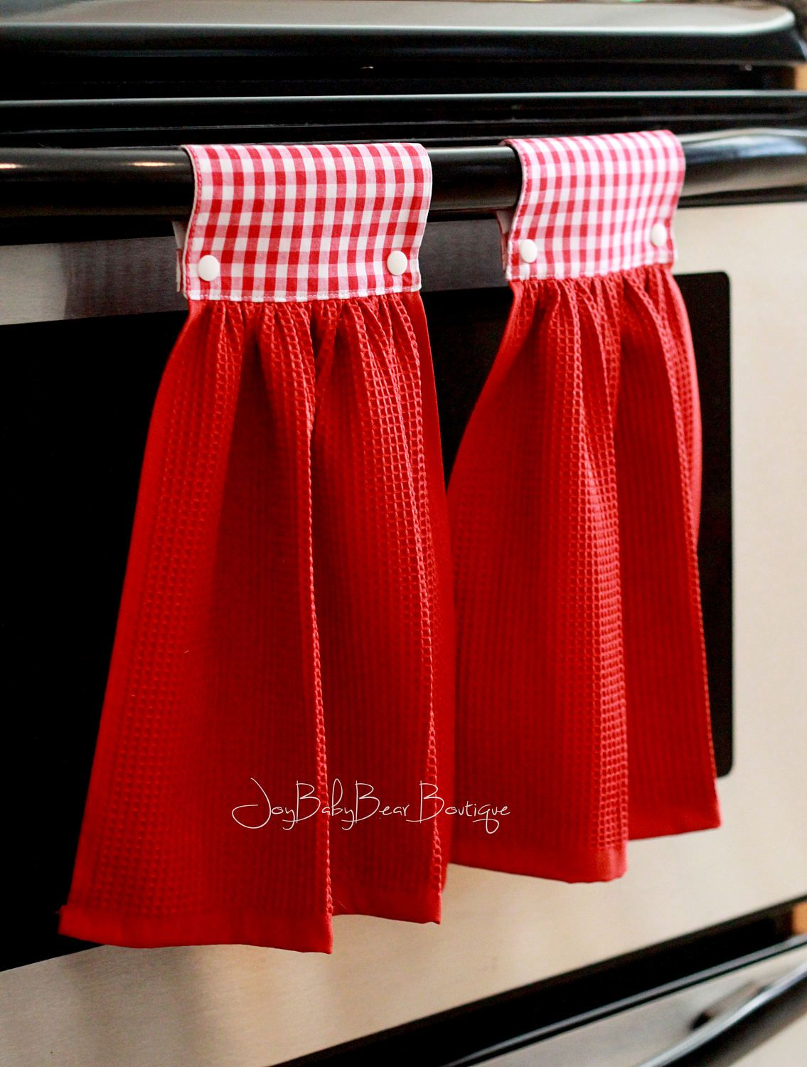 Red Gingham Towels, Hanging kitchen towel, Red kitchen towel