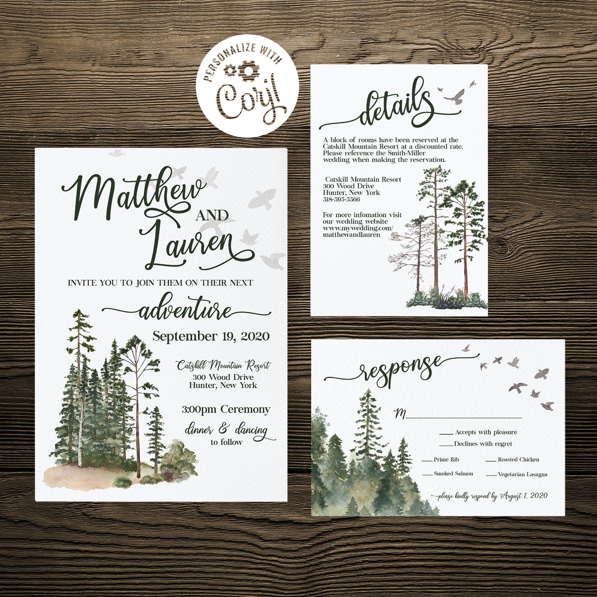 Forest Wedding Invitation Set Template Rustic Wedding In 2020 Forest Wedding Invitations Wedding Invitation Sets Woodland Wedding Invitations