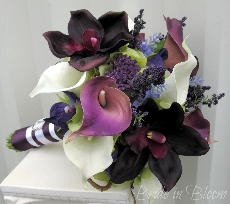 Plum Lavender Wedding Bouquet Calla Lily Orchid Bridal Bouquet Silk