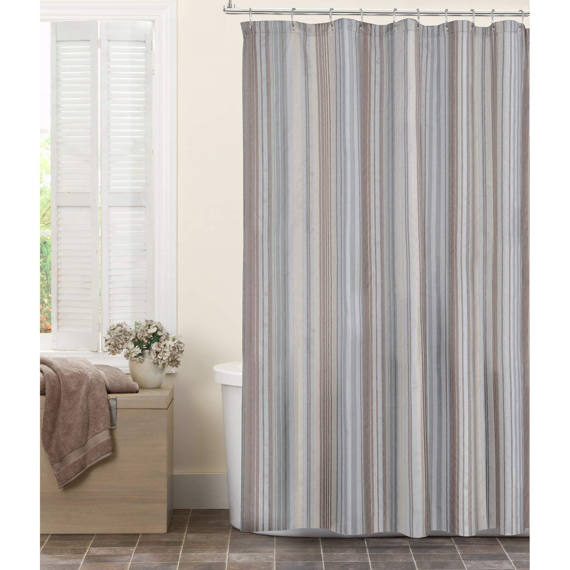 Maytex Jodie Chenille Striped Fabric Shower Curtain Taupe Domy