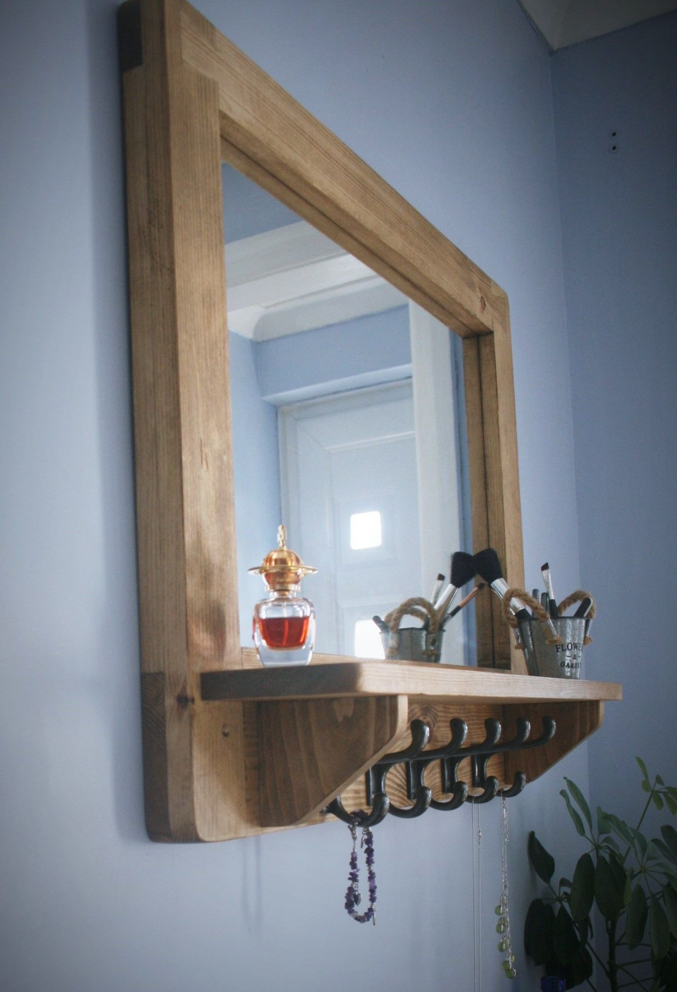 Our Custom Handmade Modern Rustic Mirror Has A Thick Reclaimed Wood Fsc Timber Frame A Generous Inset S Wooden Mirror Wooden Mirror Frame Wood Framed Mirror