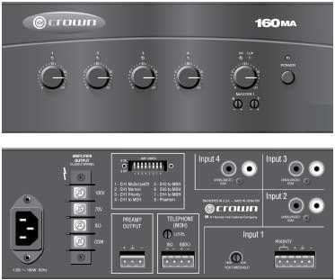 60 Watt Amplifier With 4 Channel Mixer By Crown 264 00 The Crown 160ma Are High Value Mixer Amplifiers For Commercial Au Phantom Power Audio Voice Activated