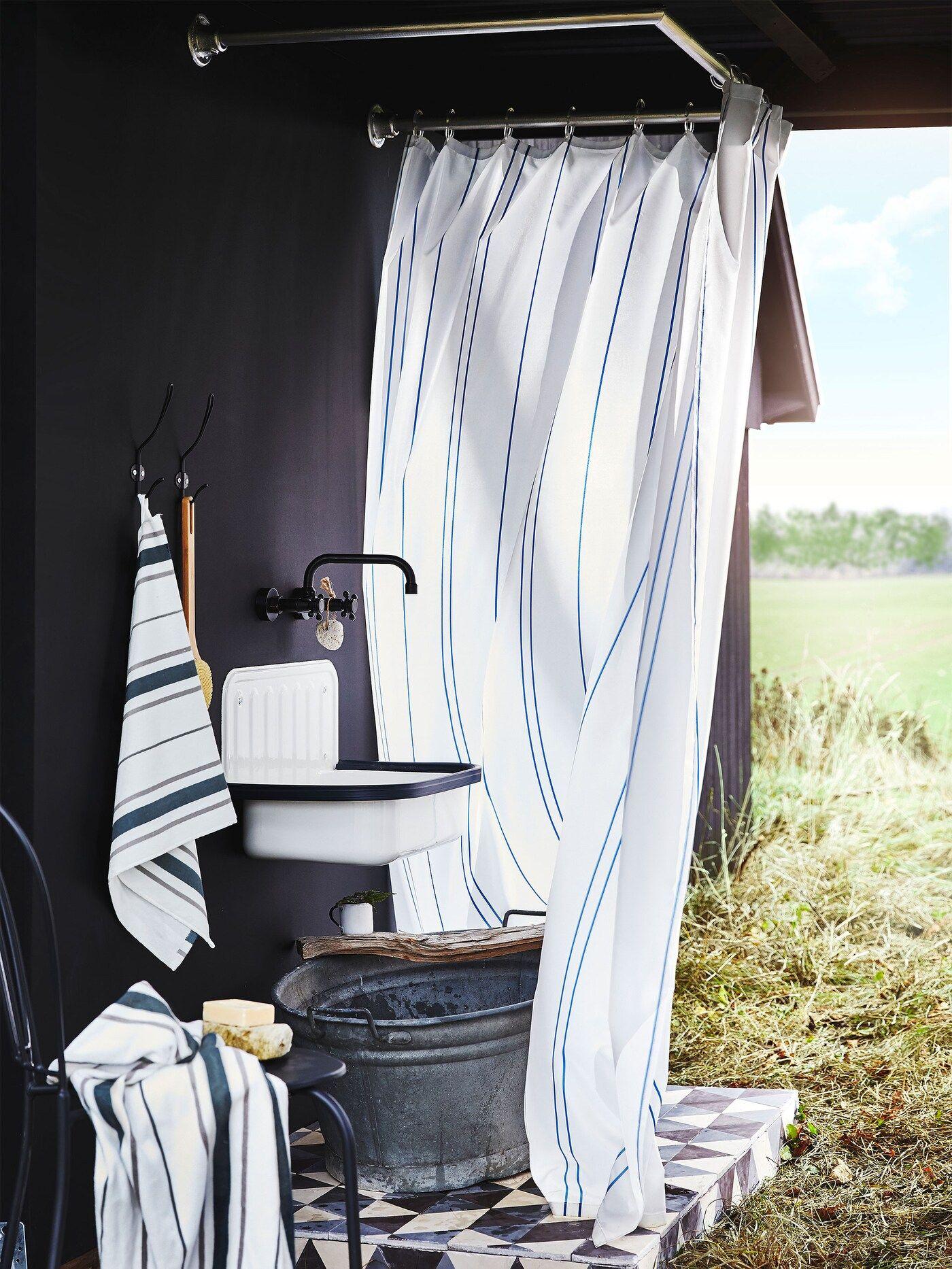 OTTSJÖN Serie Stil für dein Badezimmer   Duschvorhang weiß, Haus ...