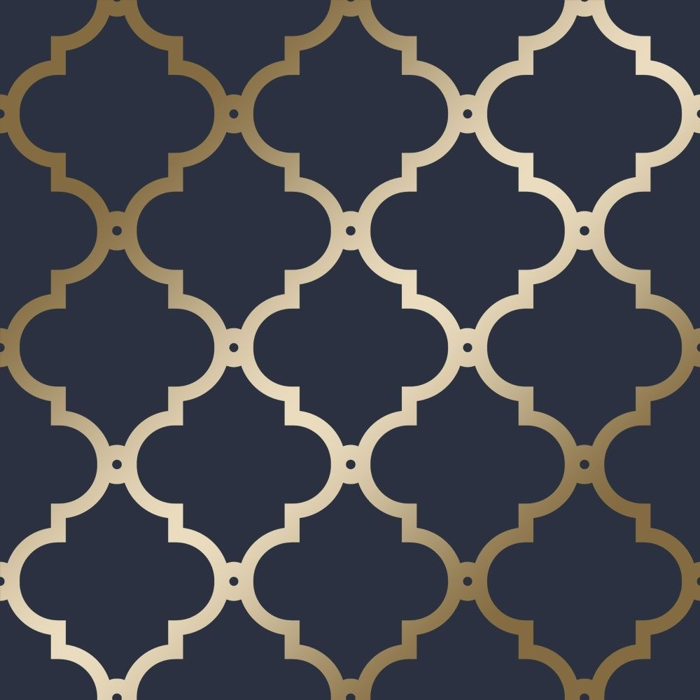 Morocco Trellis Wallpaper Navy Gold In 2019 Navy Wallpaper