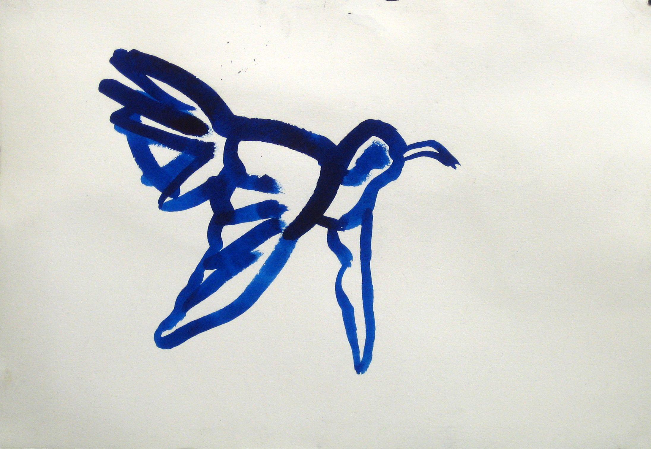 Fågel, Tusch, 35x50cm