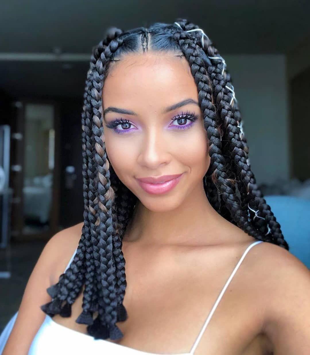 Lob Hair Prom Hairstyles Cute Hairstyles Hair Scrunchie Winterformal Hair In 2020 Box Braids Hairstyles For Black Women Box Braids Hairstyles Bob Braids Hairstyles