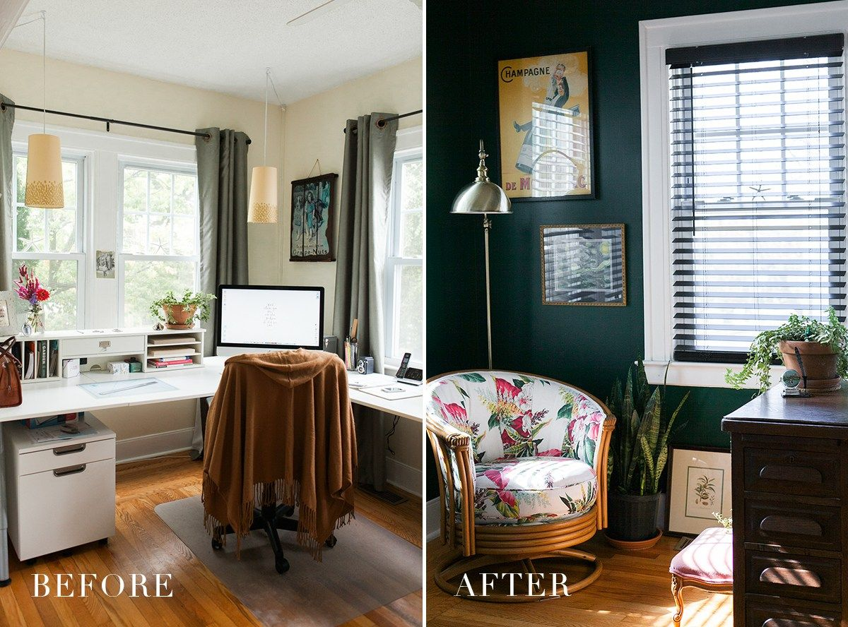 Before After Hunter Green Home Office