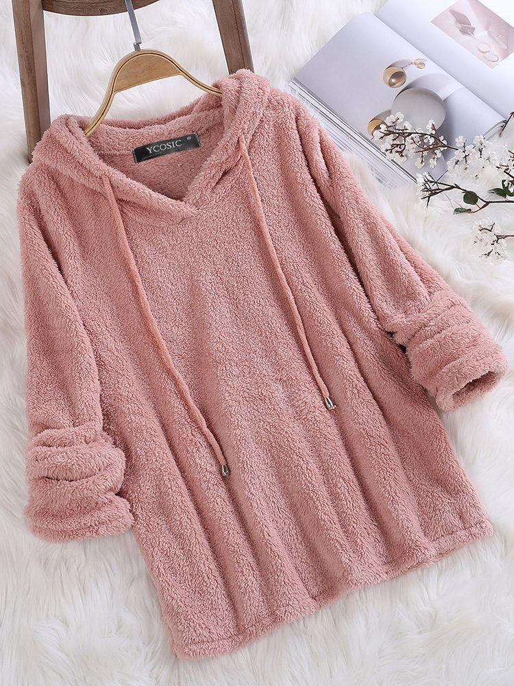 8501dbd149 Fleece Hooded Solid Color Autumn Winter Long Sleeve Sweatshirts – lalasgal