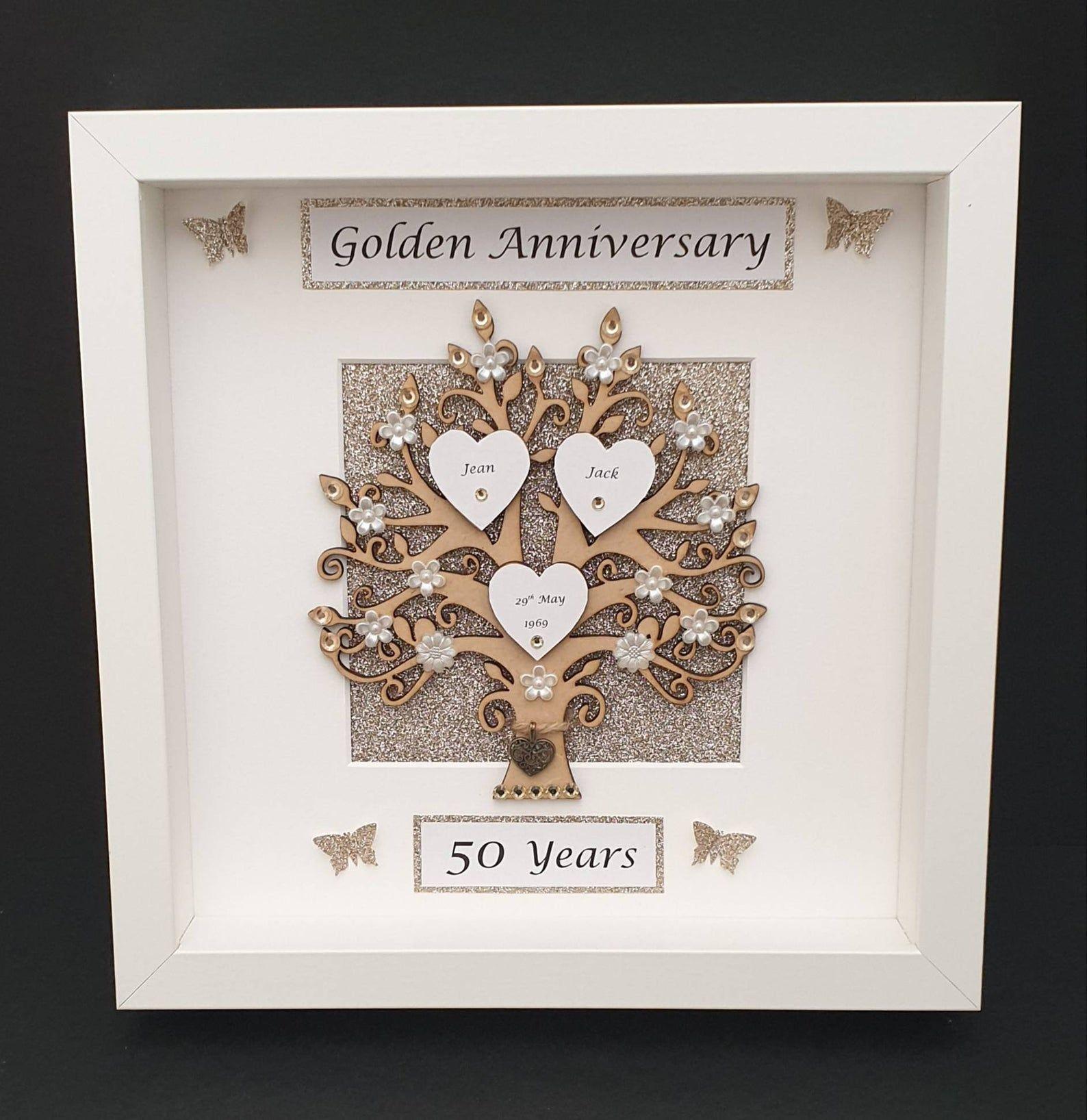 50th Golden Wedding Anniversary Frame. Keepsake Gift