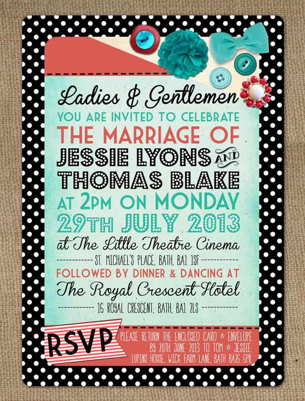 Blog Version Motown 1950s Rockabilly Turquoise Red Polka Dot Retro Vintage Wedding  Invitation Stationery By In