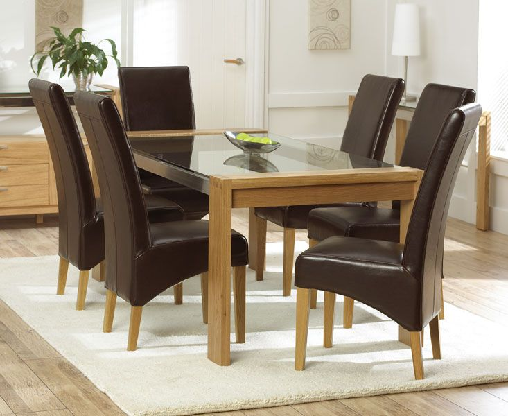 Cannes 150cm Solid Oak U0026 Glass Dining Table With 6 Leather Chairs