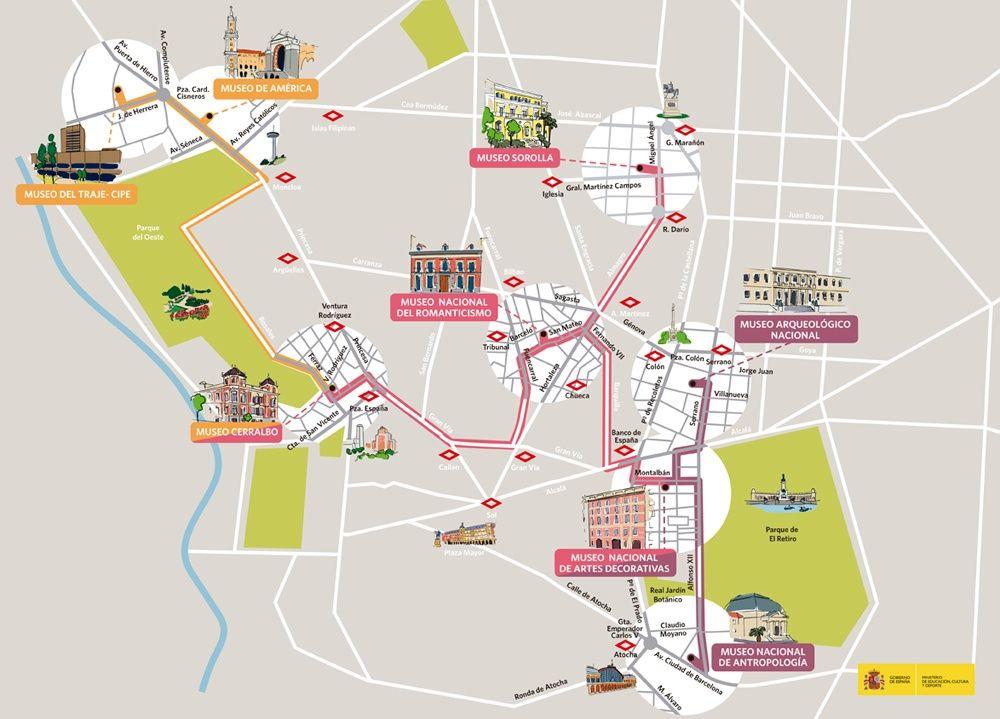 Mapa Ruta Museos Y Abono 5 Museos Por 12 Euros Museos Mapas
