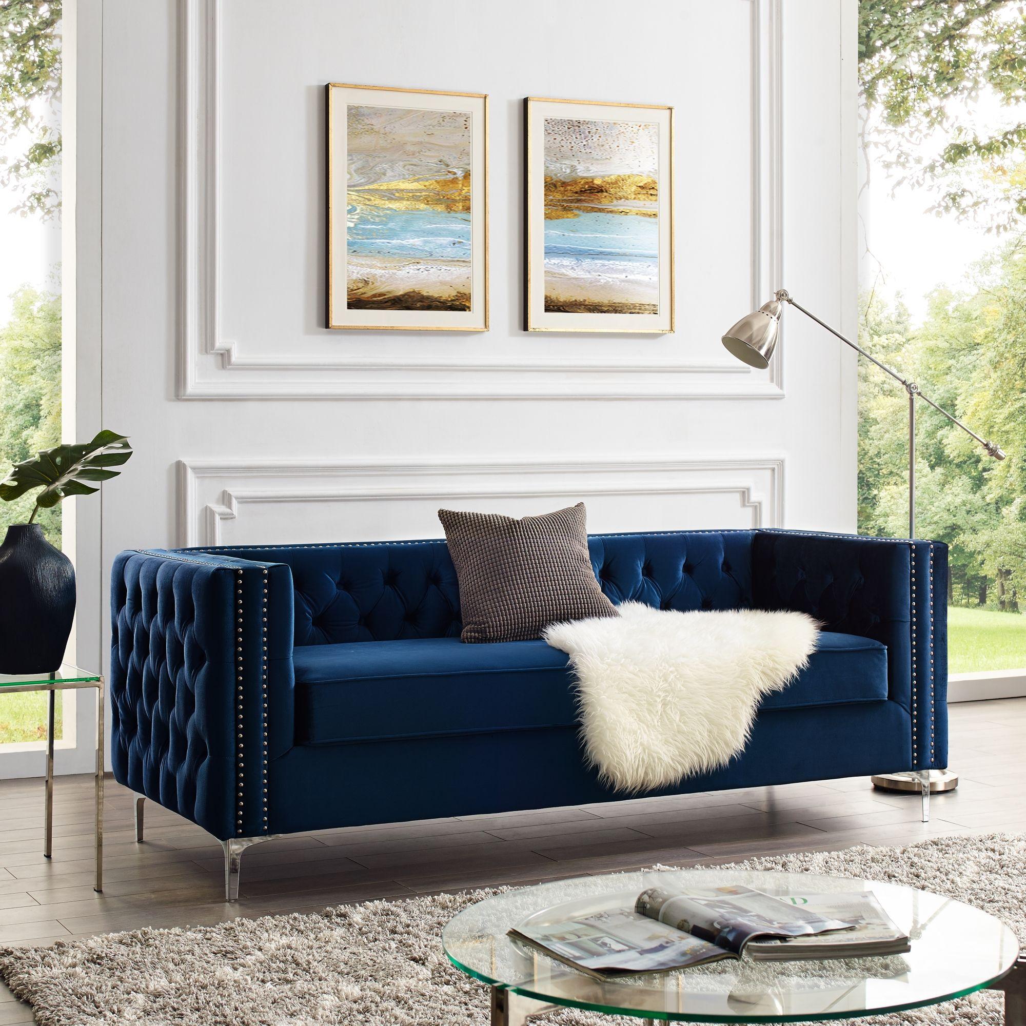 Giovanni Velvet 3 Seat Sofa 85 In 2020 Sofa Design Navy Velvet Sofa Green Velvet Sofa