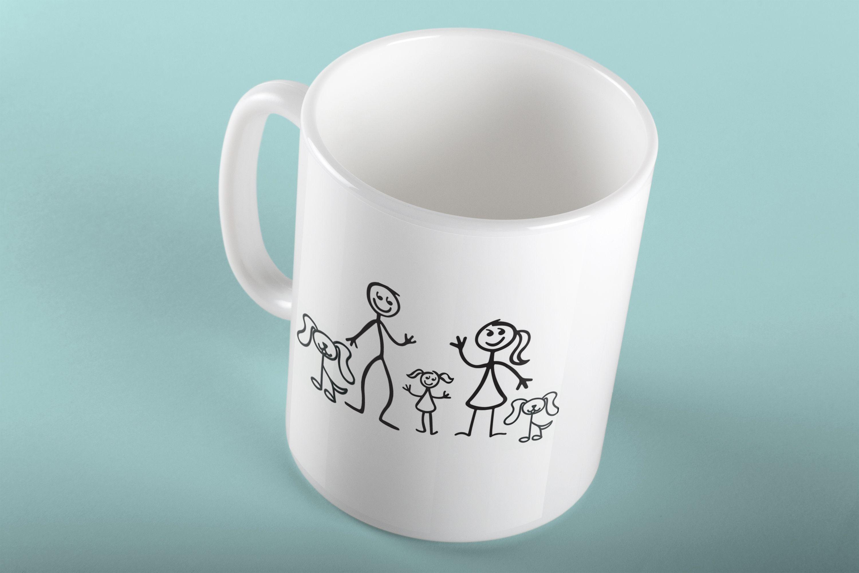 Personalized Dad Mug Stick Figure Family Customize With Name Of Kids Mug