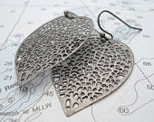 pewter leaf filigree earrings by Shoreside Chic
