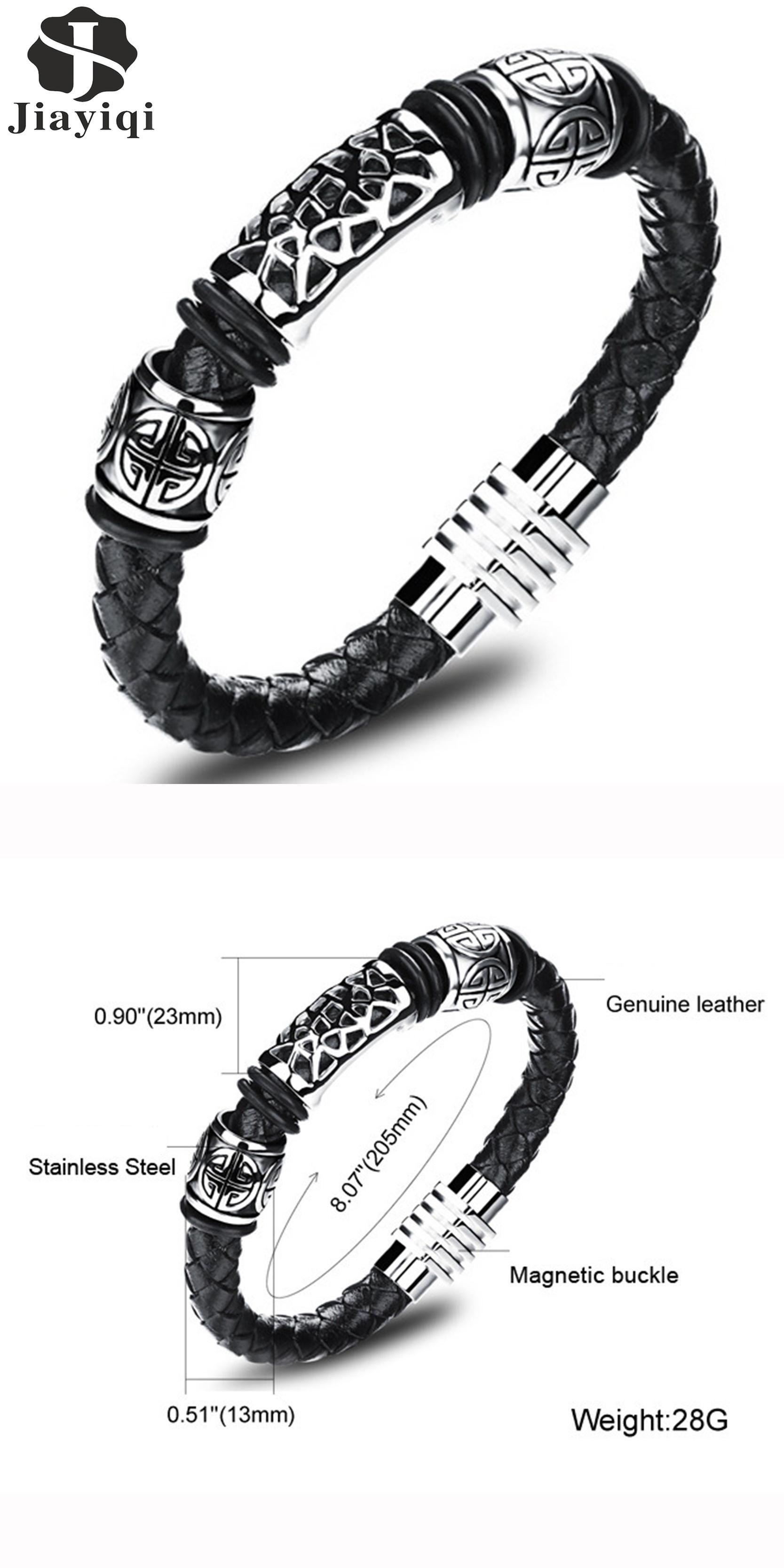 Visit to buy jiayiqi fashion men jewelry black cuff braided
