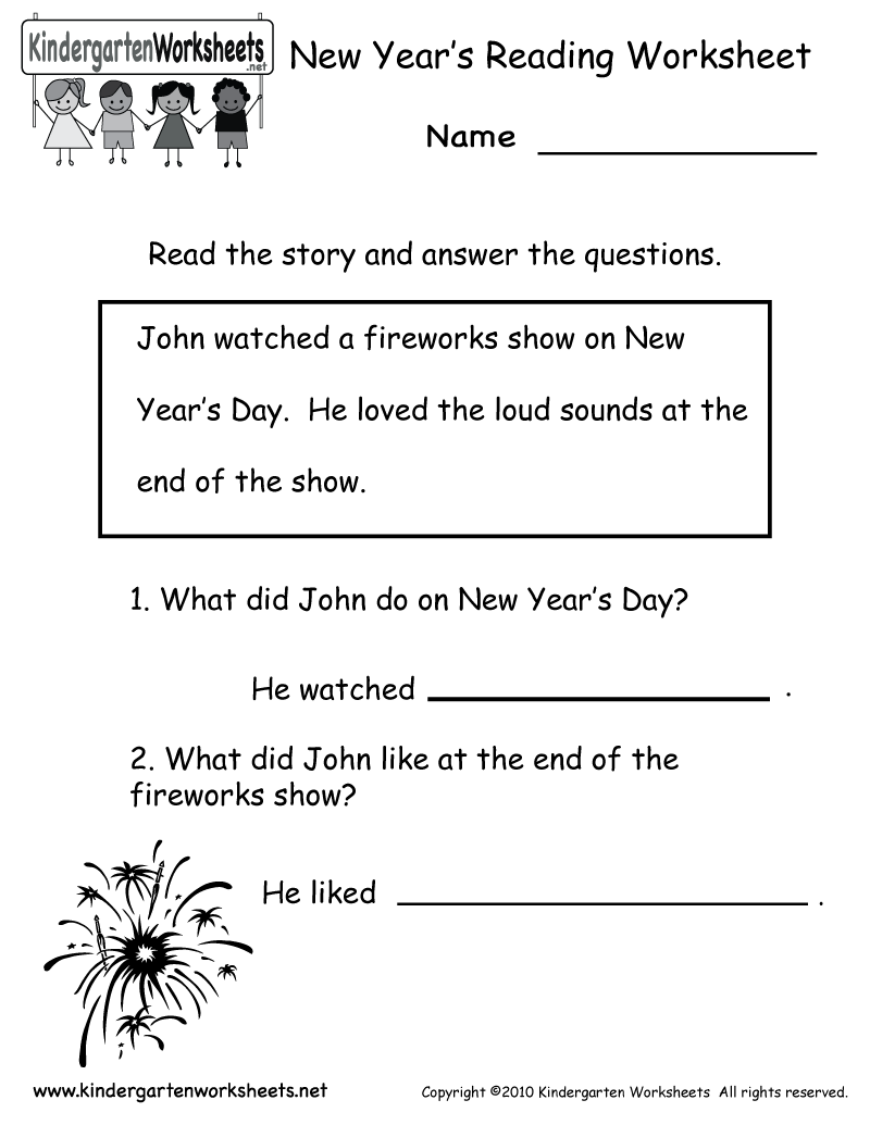 - Kindergarten New Year's Reading Worksheet Printable Reading