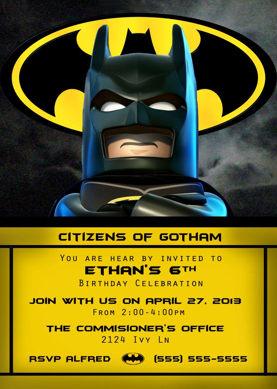 Lego Batman Invitation 4x6 or 5x7 by OrchidAvePrintables on Etsy ...
