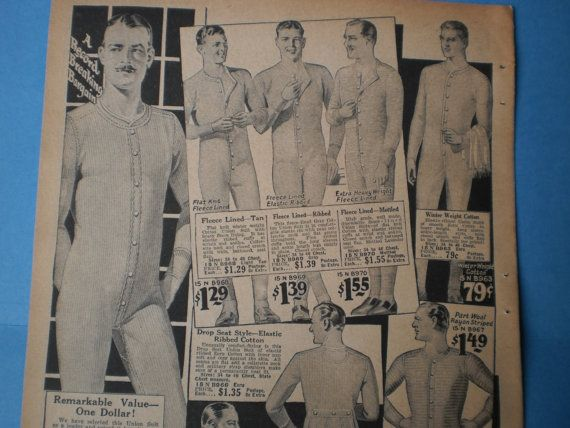 Mens Underwear Ad Fashion Print From Vintage 1920s NY Catalog to Frame, Decoupage Collage Pack Mens Long Johns Clothing Advertisement Ads
