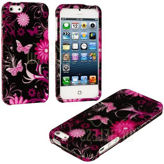 Amazon.com: myLife (TM) Pink Flowers and Butterflies Series (2 Piece Snap On) Hardshell Plates Case for the iPhone 5/5S (5G) 5th Generation ...