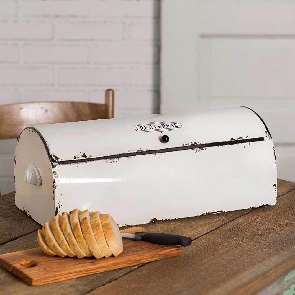 Farmhouse White Bread Box Vintage Style Retro Kitchen Storage Bin