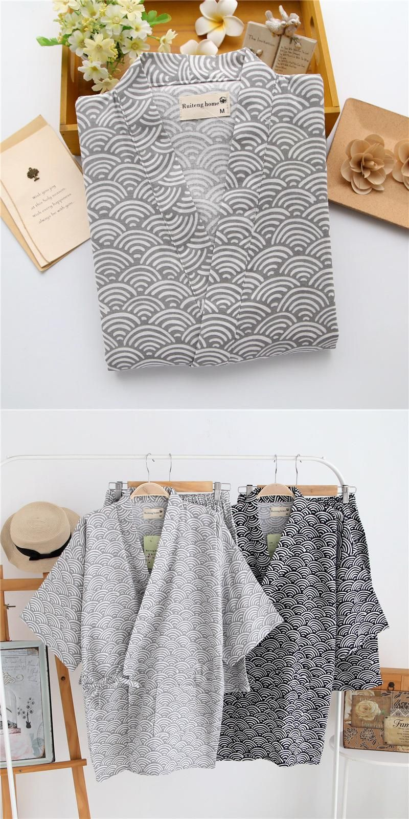 95441700a9 100% Cotton Short Sleeves Men Pyjamas Sleepwear Japanese Kimono Pajamas  Sets Simple Shorts Homewear Bathrobe Spring Man Bedgown