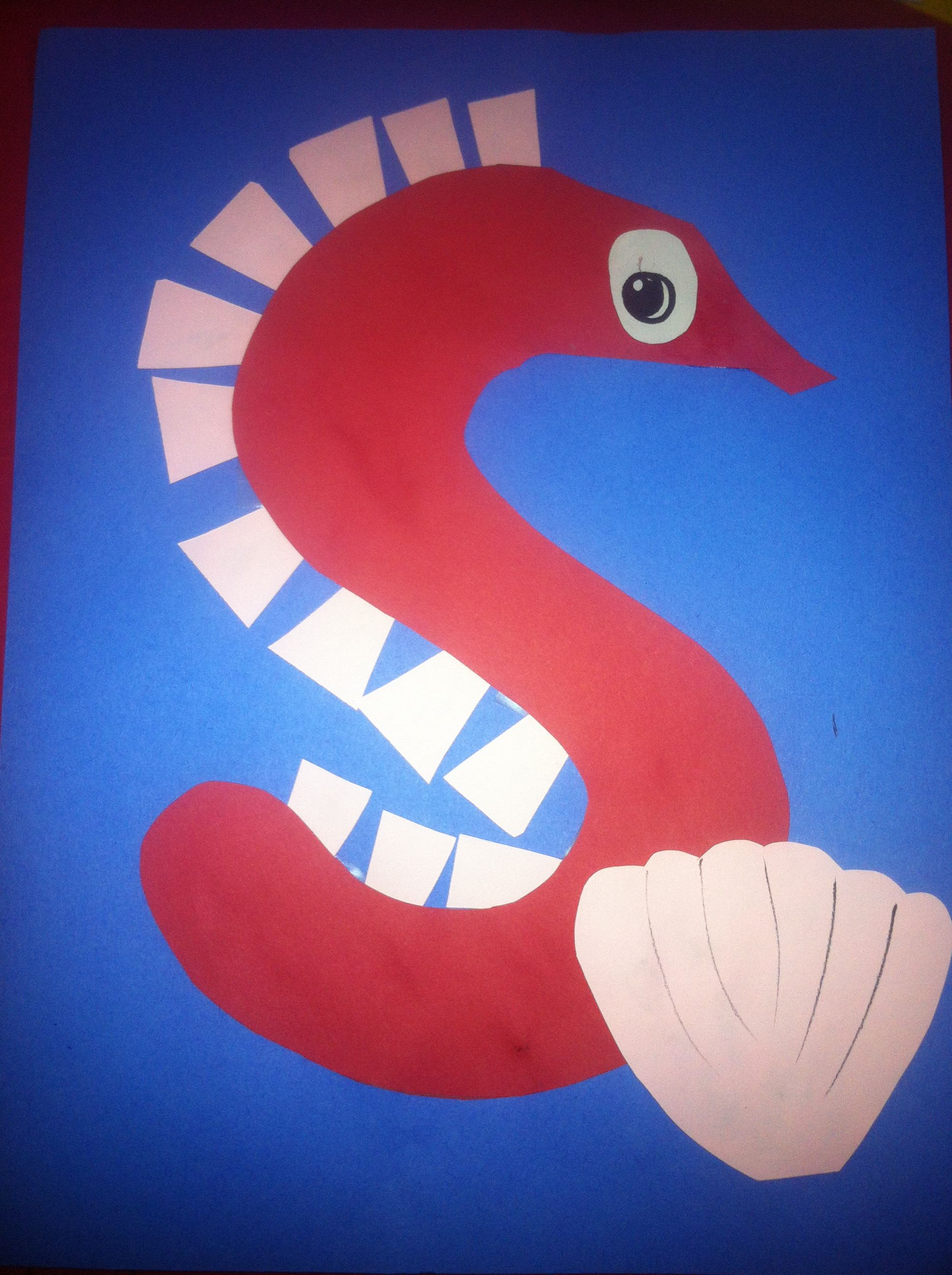 Letter s arts and crafts for preschoolers - Letter S Is For Seahorse